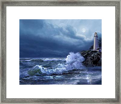 Boston Harbor Lighthouse Moonlight Scene Framed Print
