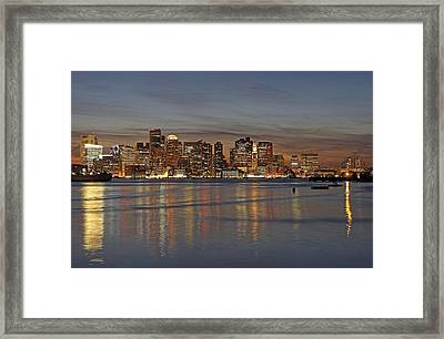 Boston Harbor Skyline Reflection Framed Print by Juergen Roth