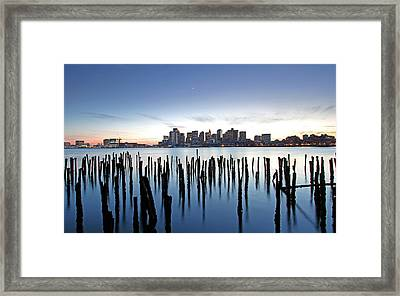 Boston Harbor Skyline With Ica Framed Print by Juergen Roth