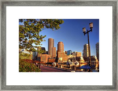 Boston Harbor Sunrise Framed Print by Joann Vitali