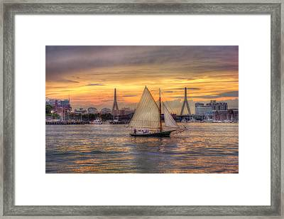 Boston Harbor Sunset Sail Framed Print