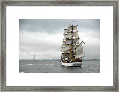 Boston Harbor Tall Ships Framed Print