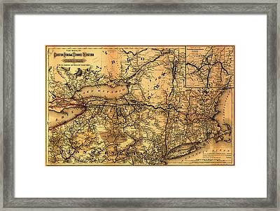 Boston Hoosac Tunnel And Western Railway Map 1881 Framed Print by Mountain Dreams