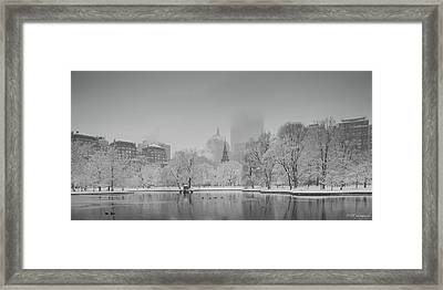 Boston In Snow Framed Print