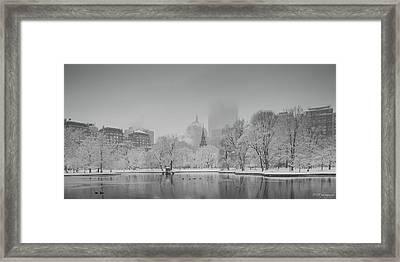 Boston In Snow Framed Print