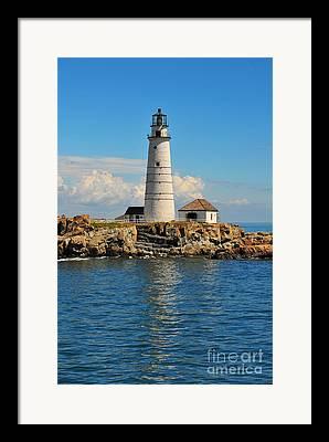 Boston Beantown City Light Lighthouse New England Massachusetts Navagator Framed Prints