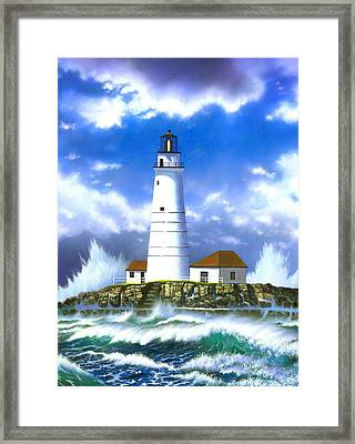 Boston Light Framed Print by MGL Studio - Chris Hiett
