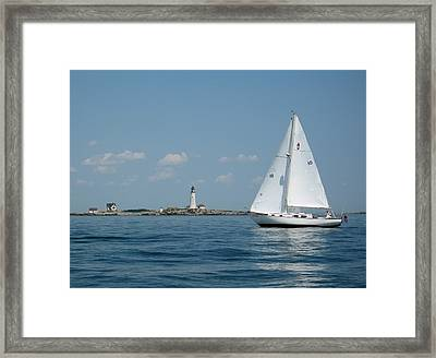 Boston Light Two Framed Print by Laura Lee Zanghetti