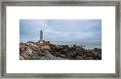 Boston Lighthouse On The Rocks Framed Print