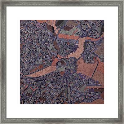 Boston Map Antique Framed Print