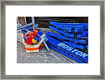 Boston Marathon Blues Framed Print by Mike Martin