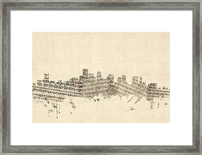 Boston Massachusetts Skyline Sheet Music Cityscape Framed Print