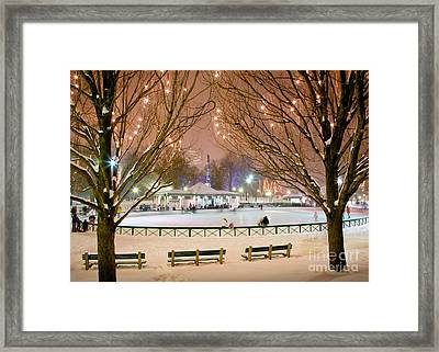 Boston New Year Skate Framed Print by Susan Cole Kelly