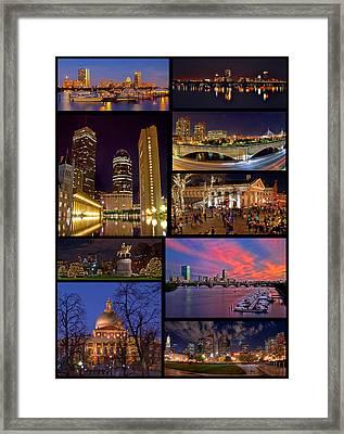 Boston Nights Collage Framed Print by Joann Vitali