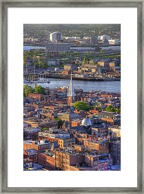 Boston North End Rooftops 2bo Framed Print