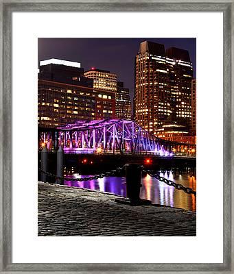 Boston Old Northern Avenue Bridge Illuminated Framed Print