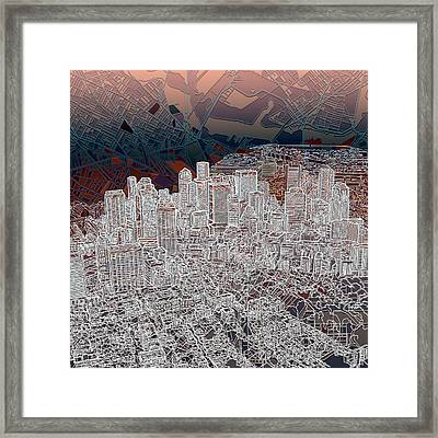 Boston Panorama Abstract 3 Framed Print