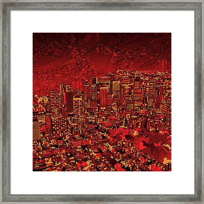 Boston Panorama Red Framed Print