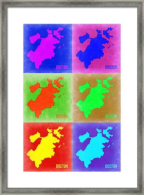 Boston Pop Art Map 3 Framed Print