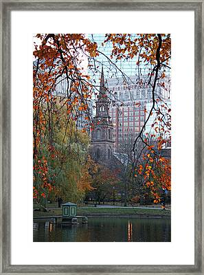 Boston Public Garden In Autumn Framed Print