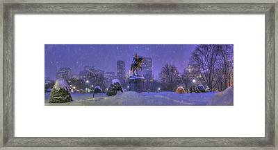 Boston Public Garden In Snow With Boston Skyline Framed Print