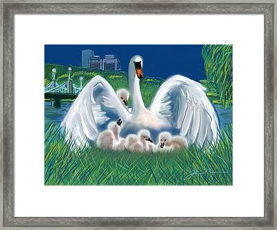 Boston Public Garden Swan Family Framed Print by Jean Pacheco Ravinski