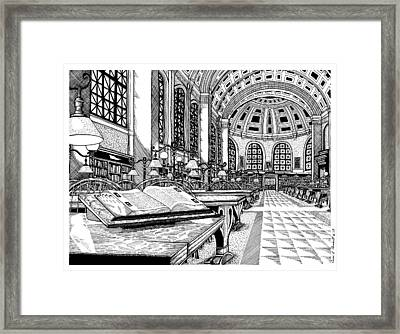 Boston Public Library Bates Hall Framed Print by Conor Plunkett