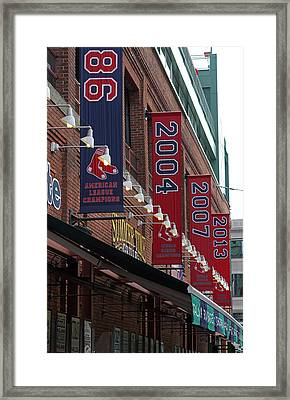 Boston Red Sox 2013 Championship Banner Framed Print by Juergen Roth
