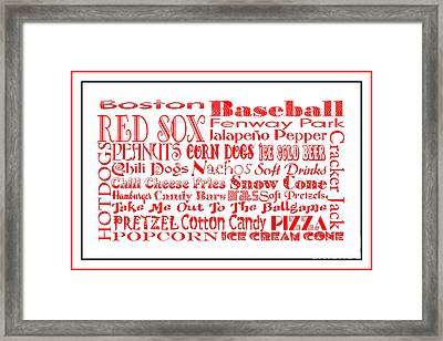 Boston Red Sox Game Day Food 3 Framed Print by Andee Design
