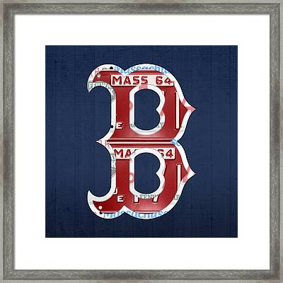 Boston Red Sox Logo Letter B Baseball Team Vintage License Plate Art Framed Print