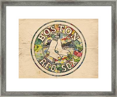 Boston Red Sox Poster Framed Print by Florian Rodarte