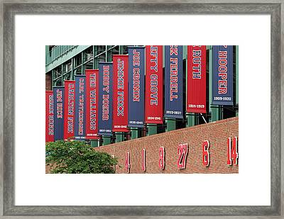 Boston Red Sox Retired Numbers Along Fenway Park Framed Print by Juergen Roth