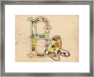 Boston Red Sox Vintage Logo Framed Print by Florian Rodarte