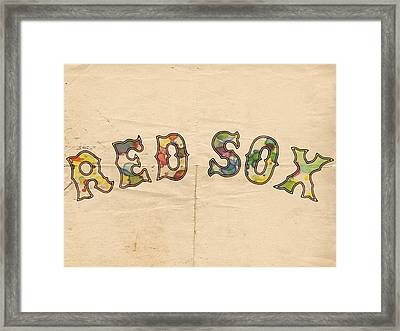 Boston Red Sox Vintage Poster Framed Print by Florian Rodarte