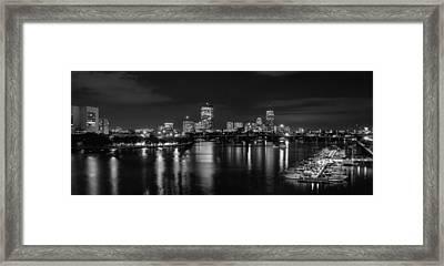 Boston Skyline - Black And White Framed Print