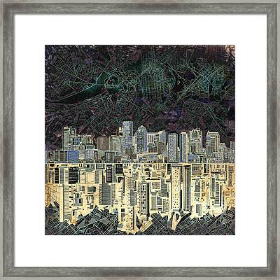 Boston Skyline Abstract Antique Framed Print