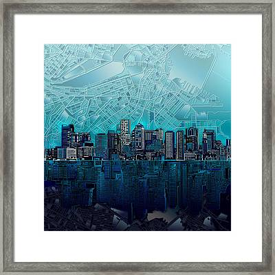 Boston Skyline Abstract Blue Framed Print
