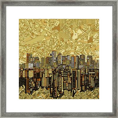 Boston Skyline Abstract Brown Framed Print