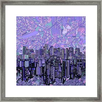 Boston Skyline Abstract Framed Print