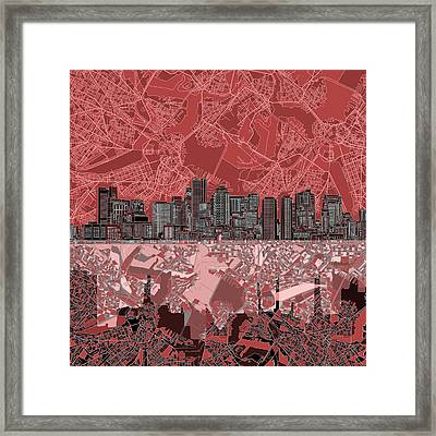 Boston Skyline Abstract Red Framed Print