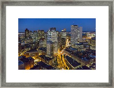 Boston Skyline At Night From The Sw Framed Print
