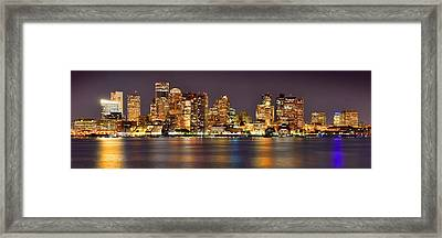 Boston Skyline At Night Panorama Framed Print by Jon Holiday