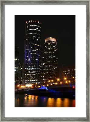 Boston Skyline At Night Framed Print