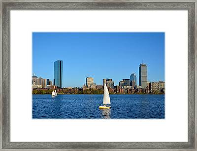 Framed Print featuring the photograph Boston Skyline Back Bay View by Amanda Vouglas