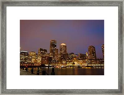 Boston Skyline Blue Hour Framed Print by Stewart Mellentine