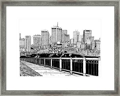 Boston Skyline Hatch Shell Framed Print by Conor Plunkett