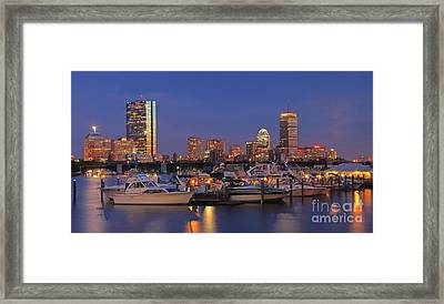 Boston Skyline In Blue And Gold Framed Print by Joann Vitali