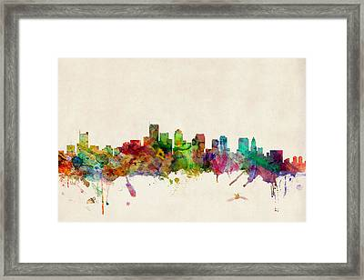 Boston Skyline Framed Print by Michael Tompsett