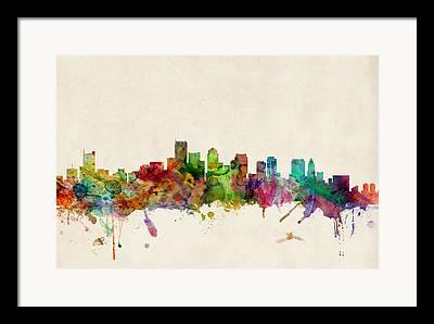 Boston Digital Art Framed Prints