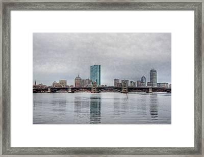 Boston Skyline On A Grey Day Framed Print by Joann Vitali
